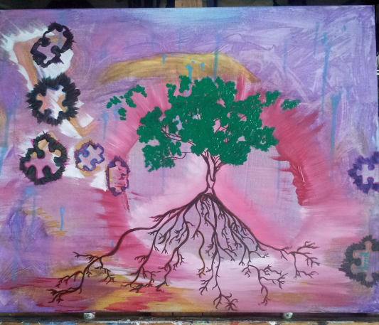 Peace painting with tree